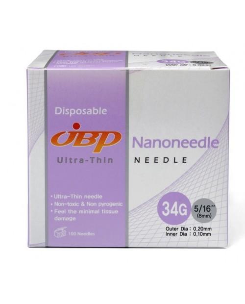 JBP nanoneedle 34G- 8mm/ 100 pc/ JBP наноиглы 34G- 8 мм х 100шт